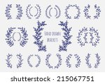 Stock vector the set of hand drawn vector circular decorative elements for your design leaves swirls floral 215067751