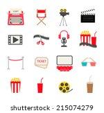 cinema icons set  vector... | Shutterstock .eps vector #215074279