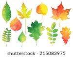 Watercolor Autumn Leaves Set
