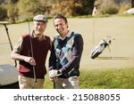 italy  kastelruth  golfers on... | Shutterstock . vector #215088055