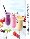 delicious smoothie on table ... | Shutterstock . vector #215092777