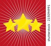 vector three gold stars on red... | Shutterstock .eps vector #215094991