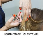 woman in a beauty salon doing... | Shutterstock . vector #215095981