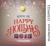 vintage style holidays greeting ... | Shutterstock .eps vector #215099221