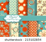 set of vector abstract flower... | Shutterstock .eps vector #215102854