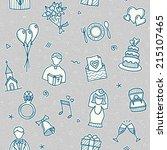 wedding drawn vector doodle... | Shutterstock .eps vector #215107465