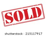 Sold Red Rubber Stamp Vector...