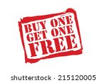 buy one get one free red rubber ... | Shutterstock .eps vector #215120005
