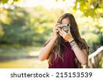 portrait of young woman with... | Shutterstock . vector #215153539