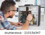 computer engineer working on...   Shutterstock . vector #215156347