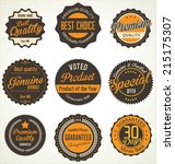 premium quality retro labels | Shutterstock .eps vector #215175307