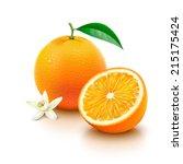 whole orange fruit with leaf ... | Shutterstock .eps vector #215175424