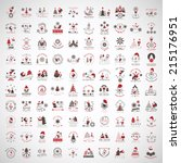 christmas icons and elements... | Shutterstock .eps vector #215176951