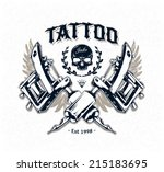cool authentic tattoo studio... | Shutterstock .eps vector #215183695
