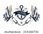 cool authentic tattoo studio... | Shutterstock .eps vector #215183731