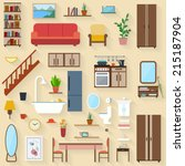 furniture set for rooms of... | Shutterstock .eps vector #215187904