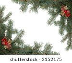 Christmas framework made of spruce branches - stock photo