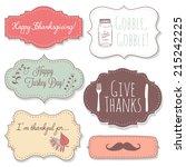 happy thanksgiving frames  | Shutterstock .eps vector #215242225