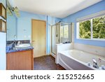 Bathroom Interior With Blue...