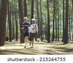 senior couple in sportswear...   Shutterstock . vector #215264755