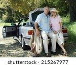 senior couple posing beside car ... | Shutterstock . vector #215267977