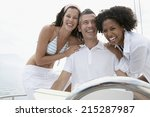 happy young people relaxing on... | Shutterstock . vector #215287987