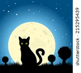 Stock vector halloween black cat silhouette against a moon night sky eps vector 215295439