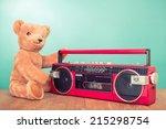 vintage teddy bear with retro... | Shutterstock . vector #215298754