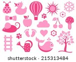 Cute Pink Baby Icons Collectio...