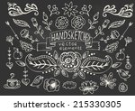 hand drawn vintage floral... | Shutterstock .eps vector #215330305