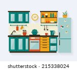 kitchen with furniture and long ... | Shutterstock .eps vector #215338024
