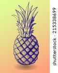 pineapple hand drawn vector... | Shutterstock .eps vector #215338699