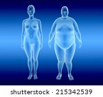 3d illustration of fat and thin ... | Shutterstock . vector #215342539
