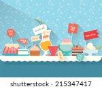 sweets  dessert  drinks on the... | Shutterstock .eps vector #215347417