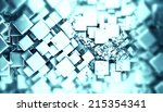 blue glossy cubes abstract... | Shutterstock . vector #215354341