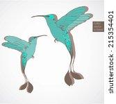 birds colibri vector set | Shutterstock .eps vector #215354401