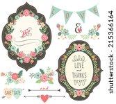 vintage wedding flora frame | Shutterstock .eps vector #215366164