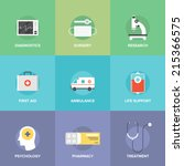 flat icons set of healthcare... | Shutterstock .eps vector #215366575