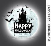 happy halloween card template ... | Shutterstock .eps vector #215373067