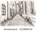 hand drawn street old town...