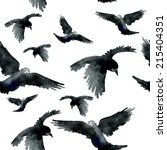 watercolor ravens seamless... | Shutterstock .eps vector #215404351