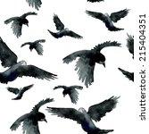 watercolor ravens seamless... | Shutterstock .eps vector #215404351