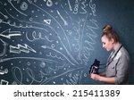 photographer girl shooting... | Shutterstock . vector #215411389