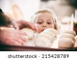 thanksgiving  little girl... | Shutterstock . vector #215428789