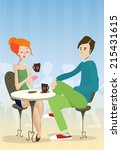 redhead girl and boy sitting in ... | Shutterstock .eps vector #215431615