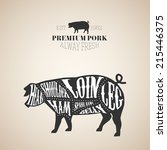 vector pig cuts diagram in... | Shutterstock .eps vector #215446375