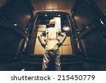 cargo van delivery. rear cargo... | Shutterstock . vector #215450779