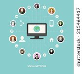 social network concept in flat... | Shutterstock .eps vector #215464417