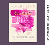 valentine disco poster.... | Shutterstock .eps vector #215468755