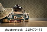 vintage luggage with sunglasses ... | Shutterstock . vector #215470495